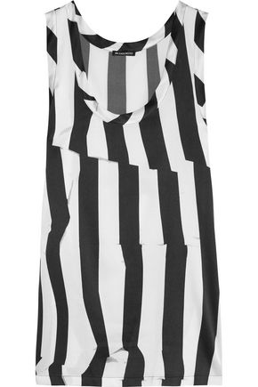 ANN DEMEULEMEESTER Striped stretch-silk satin top