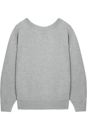SACAI Oversized lace-up stretch cotton-blend jersey sweatshirt