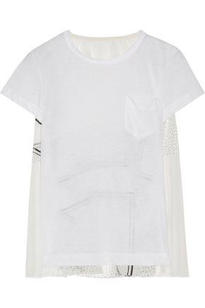 SACAI Printed organza-paneled linen-blend jersey top