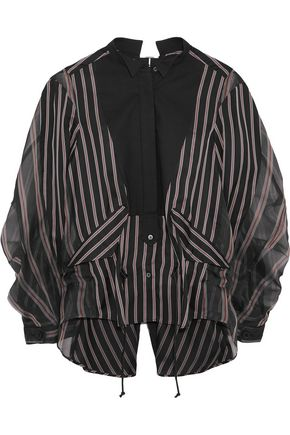 SACAI Open-back cotton piqué-paneled striped twill and silk-organza shirt