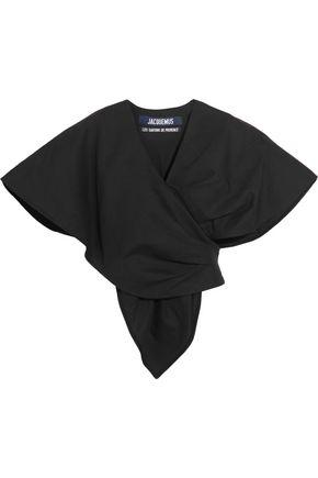 JACQUEMUS Cotton and linen-blend wrap-effect top