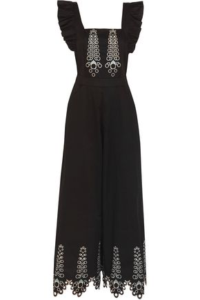 TEMPERLEY LONDON Amour embroidered cotton-poplin jumpsuit