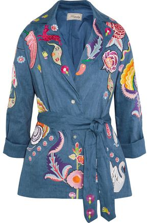 TEMPERLEY LONDON Hermia embroidered stretch linen and wool-blend jacket