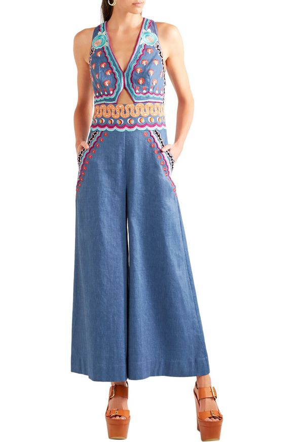 Spellbound embroidered linen-blend chambray jumpsuit | TEMPERLEY LONDON | Sale  up to 70% off | THE OUTNET