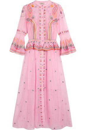 TEMPERLEY LONDON Wildflower embroidered cotton and silk-blend peplum midi dress