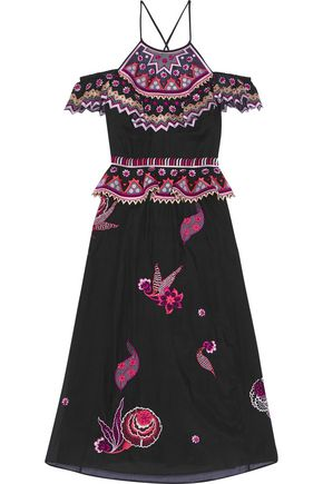 TEMPERLEY LONDON Wildflower cold-shoulder embroidered cotton and silk-blend midi dress