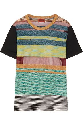 MISSONI Striped metallic stretch-knit T-shirt