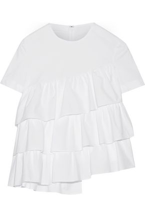 CO Asymmetric ruffled cotton-poplin top