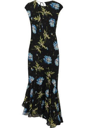 TOPSHOP UNIQUE Evelyn asymmetric printed silk-georgette midi dress