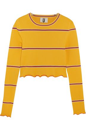 TOPSHOP UNIQUE Margot striped stretch-knit top