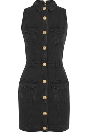 BALMAIN Distressed denim mini dress