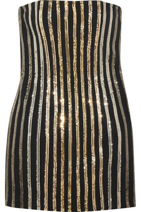 BALMAIN Metal mesh-paneled crepe mini dress