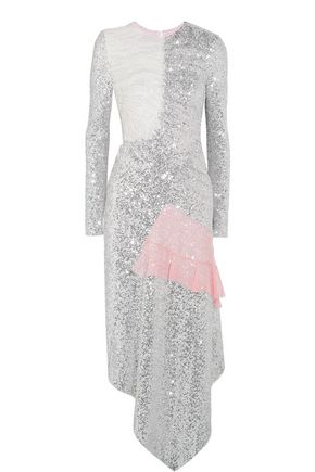 PREEN by THORNTON BREGAZZI Meda silk chiffon-trimmed sequined stretch-jersey midi dress