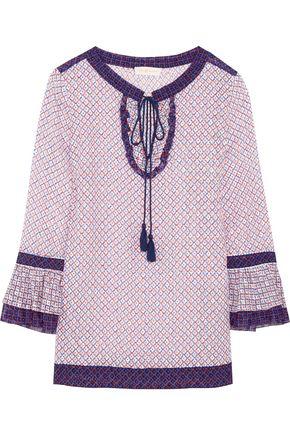 TORY BURCH Gwenna printed silk-blend jacquard top