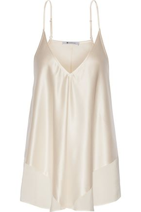 T by ALEXANDER WANG Chiffon-trimmed silk-charmeuse camisole