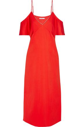 T by ALEXANDER WANG Off-the-shoulder chain-embellished stretch-crepe midi dress