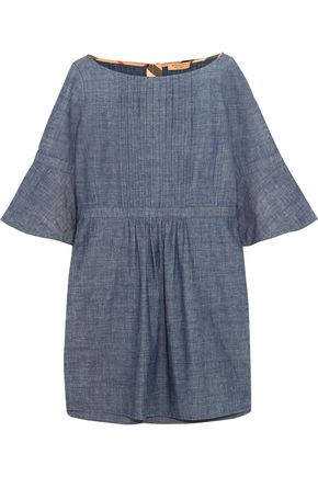 BURBERRY Pintucked cotton-chambray mini dress