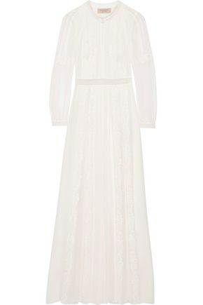 BURBERRY Lace-trimmed silk-crepon gown