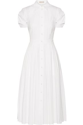 MICHAEL KORS COLLECTION Pleated cotton-blend poplin midi dress