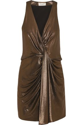 SAINT LAURENT Draped lamé mini dress