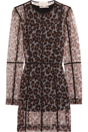 CHRISTOPHER KANE Leopard-print stretch-mesh mini dress