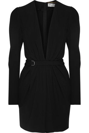 SAINT LAURENT Gathered crepe mini dress