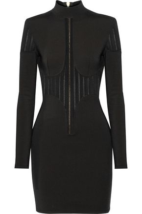 BALMAIN Mesh-paneled stretch-knit mini dress