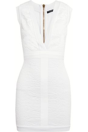 BALMAIN Snake-effect cloqué mini dress