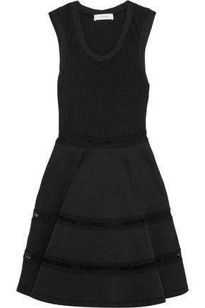 CARVEN Lace-trimmed neoprene and ribbed-knit mini dress