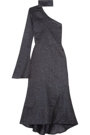 BEAUFILLE Hydrus one-shoulder pinstriped linen-blend midi dress