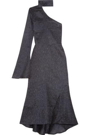 BEAUFILLE Hydrus one-shoulder pinstriped linen-blend midi dress