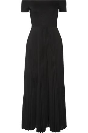 ALICE + OLIVIA Ilana off-the-shoulder stretch-jersey and chiffon dress