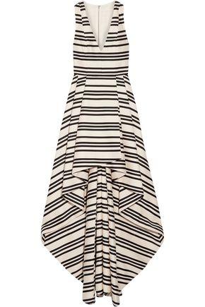 ALICE + OLIVIA Aveena asymmetric striped cotton-blend gown