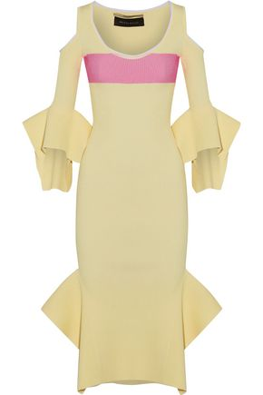 ROLAND MOURET Corely cold-shoulder ribbed-knit midi dress
