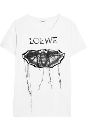 LOEWE Embroidered printed stretch-cotton T-shirt