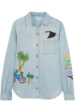MIRA MIKATI Ice Cream Van painted denim shirt