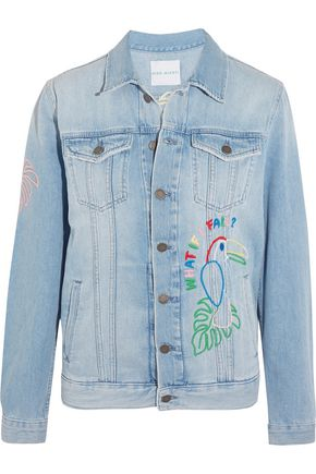 MIRA MIKATI Candy embroidered embellished denim jacket