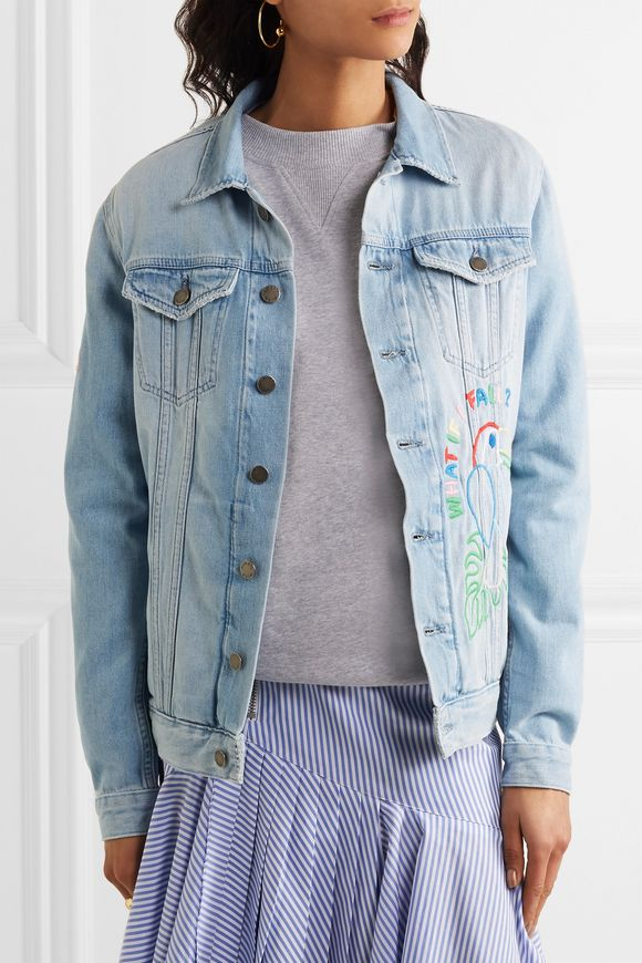 Candy embroidered embellished denim jacket | MIRA MIKATI | Sale up to 70%  off | THE OUTNET