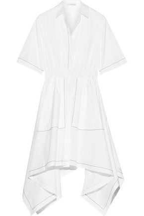 J.W.ANDERSON Asymmetric embroidered cotton-poplin midi dress