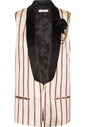 LANVIN Embellished striped satin-jacquard vest