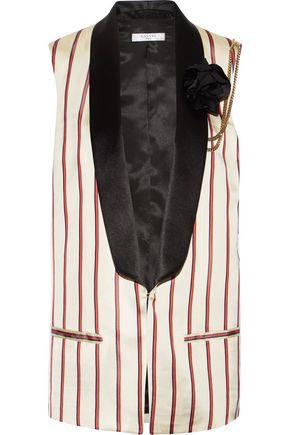 LANVIN Embellished striped satin-jacquard vest