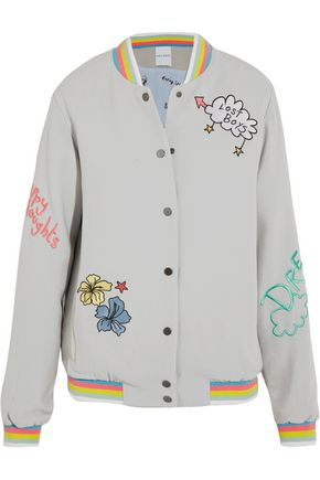 MIRA MIKATI Lost Boy embroidered crepe bomber jacket