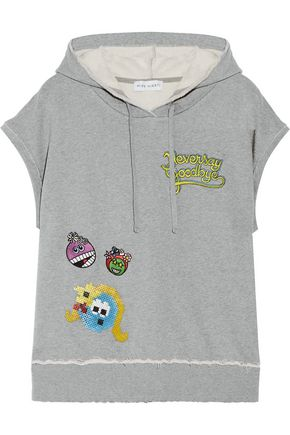 MIRA MIKATI Never Grow Up embellished appliquéd cotton-jersey hooded top