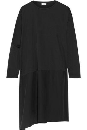 JIL SANDER Cutout cotton-jersey and silk dress