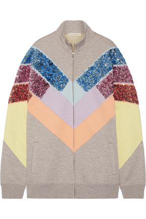 MARC JACOBS Oversized sequin-embellished paneled jersey sweatshirt