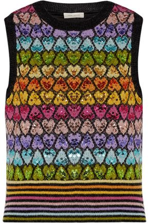 MARC JACOBS Sequin-embellished mohair-blend vest