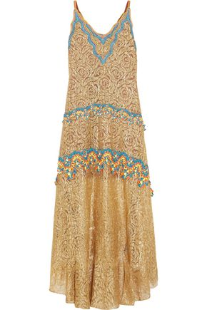 PETER PILOTTO Crochet-trimmed metallic lace gown