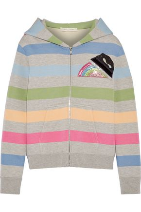 MARC JACOBS Appliquéd striped jersey hooded top