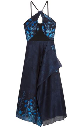 ROLAND MOURET Marshall cady-paneled fil coupé organza midi dress