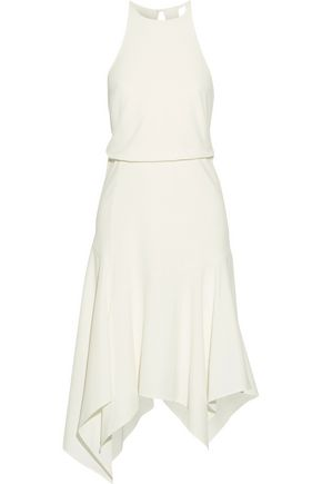 HALSTON HERITAGE Asymmetric satin-trimmed cutout stretch-crepe dress